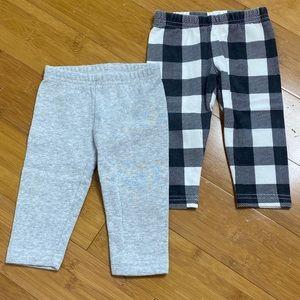 lot of 2 pairs Carter's cozy fleece leggings 9M